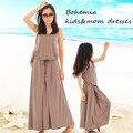 2016 novos vestidos de verão da família mãe e filha combinando roupas meninas Modal maxi elegante vestido marrom para adolescente criança