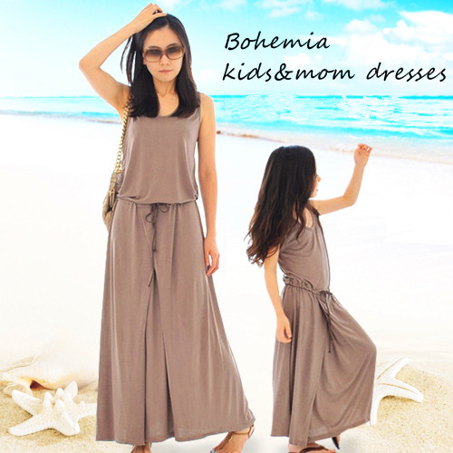 Matching mother and daughter dresses 2016 new summer family clothes girls Modal maxi elegant brown dress for child teenager summer style family matching outfits mother daughter dresses contrast color blue a line dress ankle length mother & kids clothes