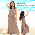 Matching mother and daughter dresses 2016 new summer family clothes girls Modal maxi elegant brown dress for child teenager