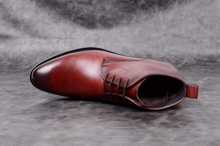 De Tamanho Botas Mens Couro Redondo Brown Tornozelo 44 Laço Black Outono red Qualidade Sapatos Do Quente Neve Vaca Homens Genuíno Inverno Dedo Pé 37 Novos aqFFWHPtY