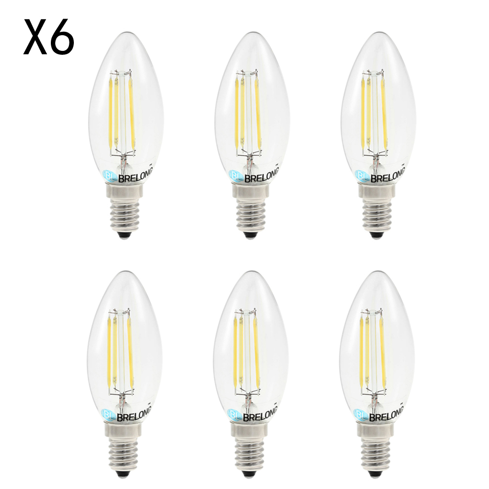 BRELONG 6PCS E14 LED Candle Light Bulb 4W White Light Energy Saving LED Filament Candle Bulb Light Decorative Ampoule for Home