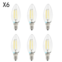 BRELONG 6PCS E14 LED Candle Light Bulb 4W White Light Energy Saving LED Filament Candle Bulb Light Decorative Ampoule for Home