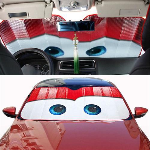 130x70 CENTÍMETROS Dos Desenhos Animados Viseira Carro Auto Proteção Solar Folhas Olhos Carro Janela Da Frente Windshield Viseira Tampa Do Carro Universal carro-styling