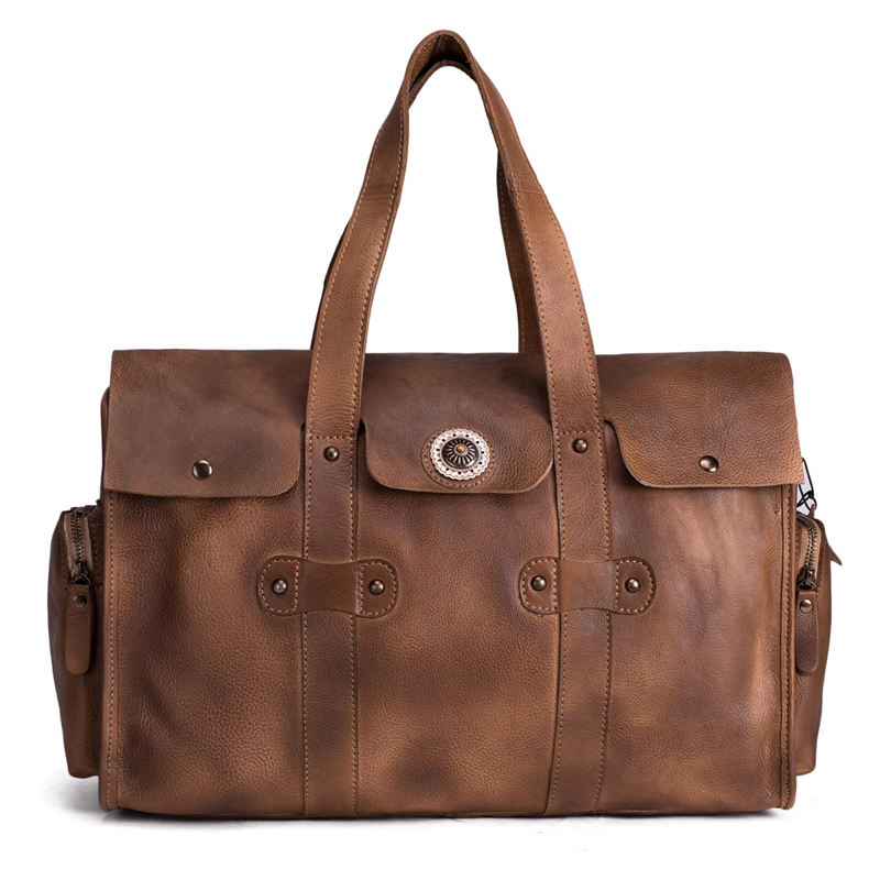 ROCKCOW Handmade Vegetable Tanned Leather Travel Bag, Tote Bag, Women - Luggage and Travel Bags