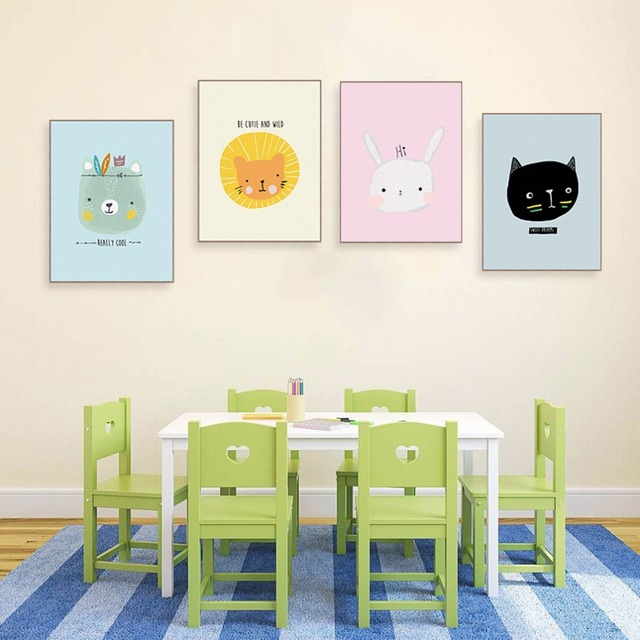 Kawaii Animal Bear Lion Tiger Quotes Posters Baby Kids Room Nordic Wall Art Picture Home Decor Canvas Painting No Frame