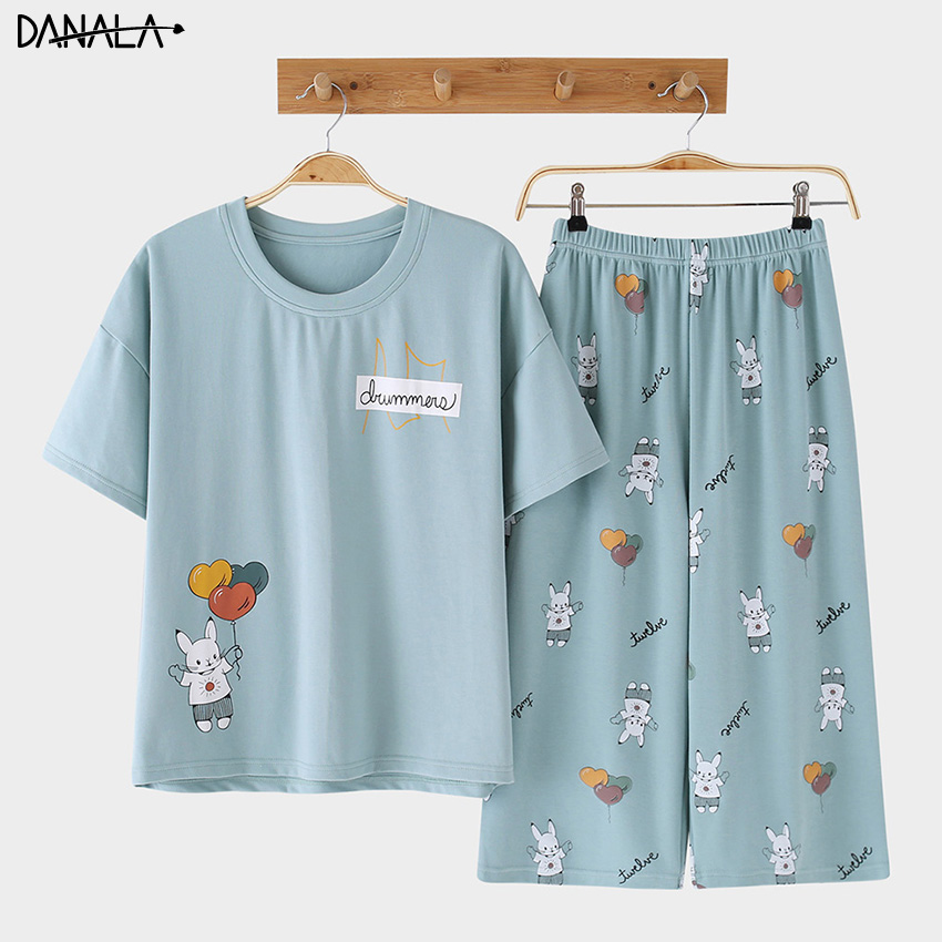 DANALA Cotton Casual Women   Pajamas     Sets   Summer Animals Print Vogue Short Sleeve Sleepwear   Sets   Home Suits Nightwear