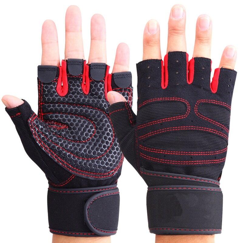 Men Women Half Finger Fitness Gloves Weight Lifting Gloves Protect Wrist Gym Training Fingerless Weightlifting Sport Gloves