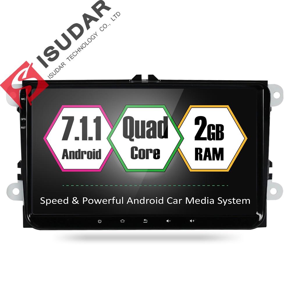 Isudar Voiture Multimédia Lecteur GPS Android 7.1.1 Autoradio 1 Din Pour VW/Volkswagen/PASSAT/Golf/Skoda/Siège 2 GB RAM Microphone Wifi