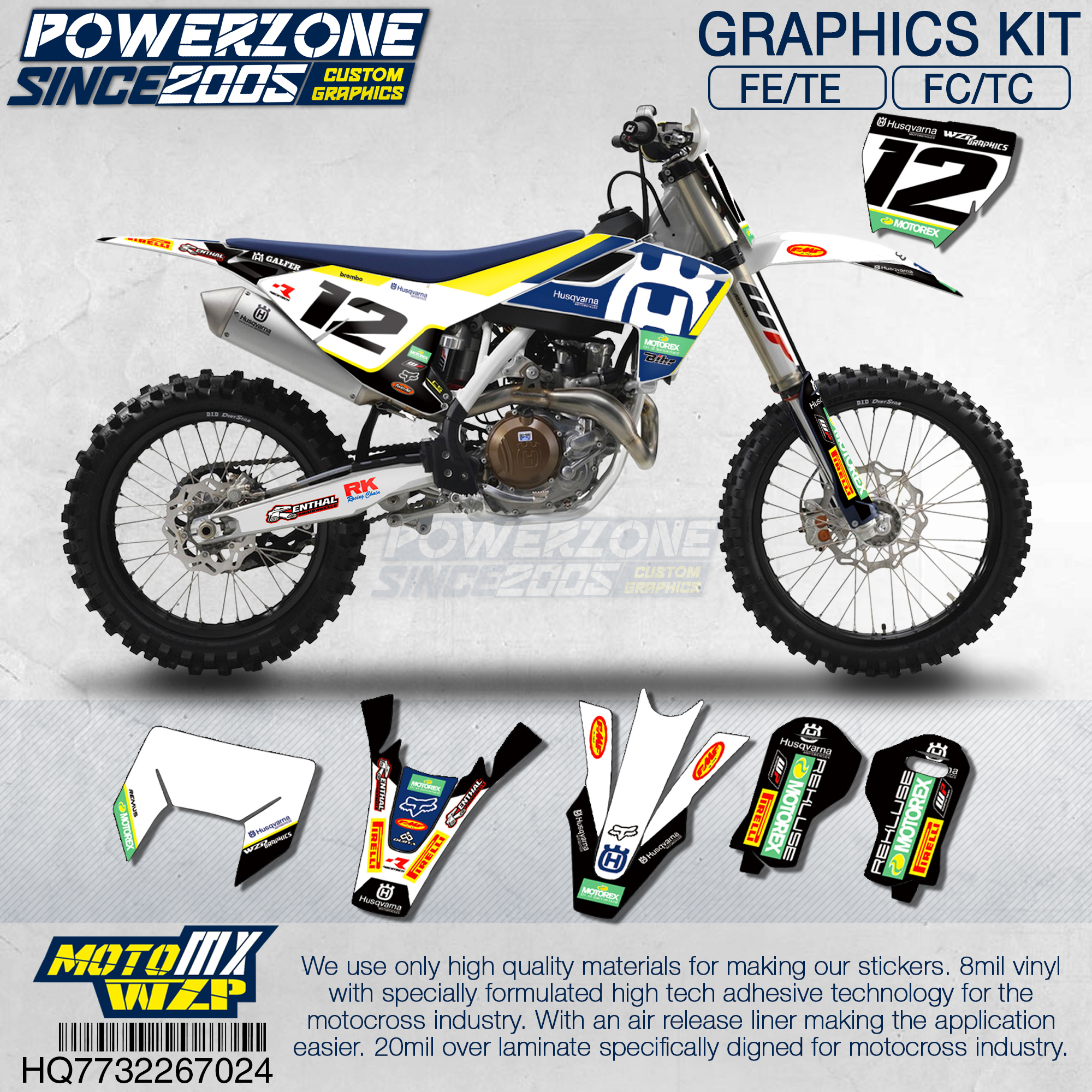 PowerZone Customized Team Graphics Backgrounds Decals 3M Custom Stickers For Husqvarna 2017 To 2019 FE TE FC TC 250 To 500cc 724