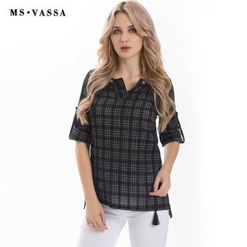 Women T-shirt Casual Cotton Plaid Tops