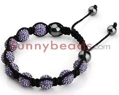 Free Shipping 10pcs/Lot Fashion Handmade Tresor Paris Lilac  Crystal Shamballa Bracelet with Hematite S016