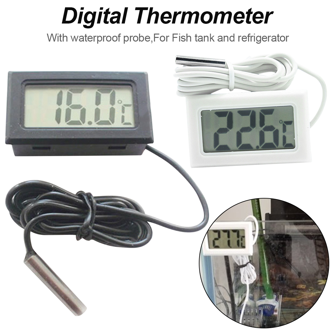Black//White Aquarium Temperature Gauge LCD Digital Thermomer For FIish Tank New