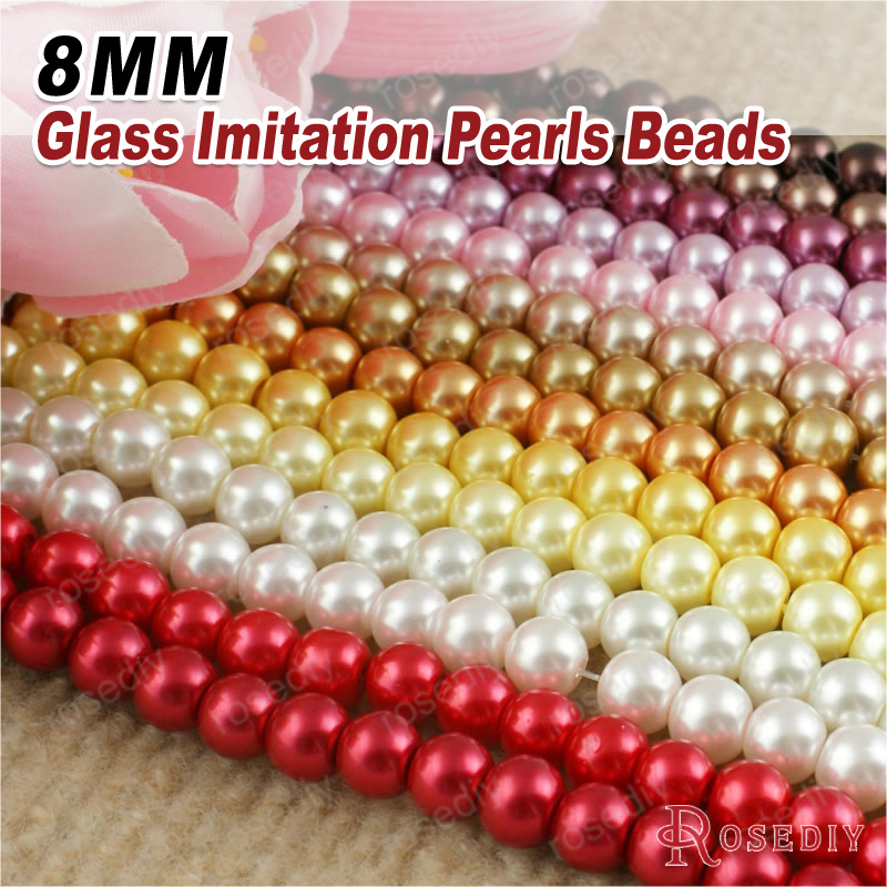 7177 1 String,about 105 Beads 8mm Dyeing Color Glass Imitation Pearls Round Beads Ball Beads Jewelry Accessories Findings 100% Quality