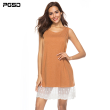 PGSD 2019 New Summer casual Lace stitching Sleeveless Loose O-Neck short vest dress female Fashion Simple solid women clothes