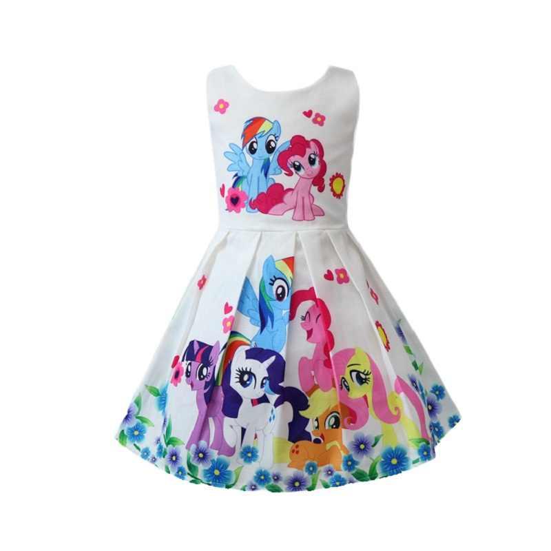 Little pony rainbow dash vestidos crianças meninas arco-íris vestido crianças meninas vestidos de princesa unicórnio pônei vestidos de festa 2-8 anos
