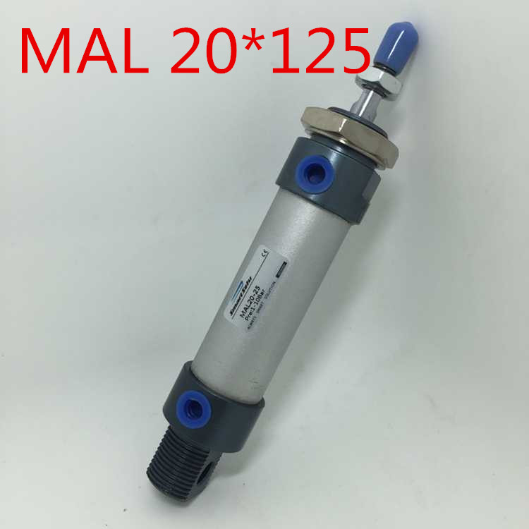 Free Shipping MAL 20 X 125 Bore 20mm Stroke 125mm Aluminium Alloy Mini Cylinder , 20-125 MM 1/8 Port ,Double Action Single Rod 1 piece 300x 140x 20mm 8 x 3w   20 x 1w