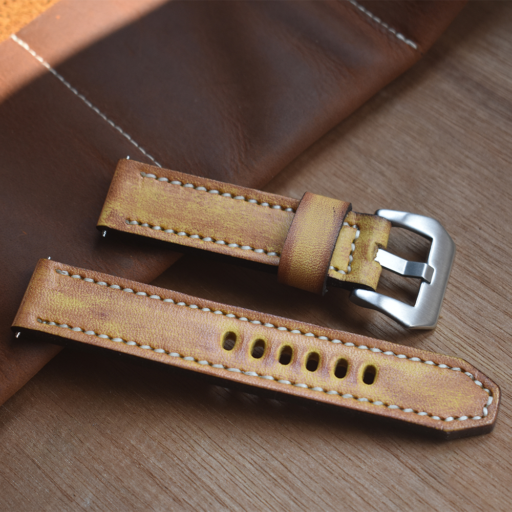ONTHELEVEL Genuine Leather Watchbands Yellow Watch Band Strap for Panerai Belt Stainless Steel polished Buckle 18 20 22 24mm | Fotoflaco.net