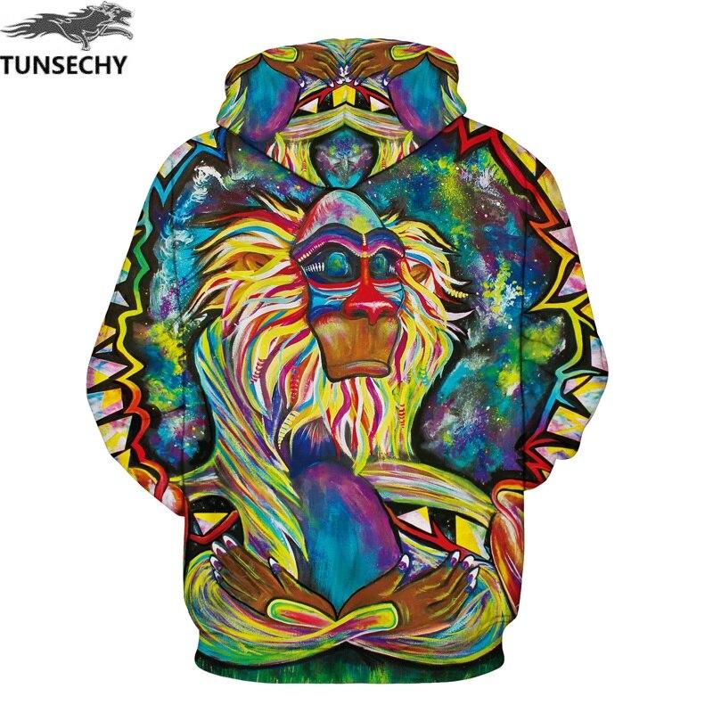 Graffiti Rasta Monkey Elder Animal Paint Print Pullover Hoodie Long Sleeve Hoody