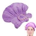 Mujeres Lindo Del Bowknot Suave de Coral Polar Ultra Absorbente Gorro de Ducha Sombrero Gorro de baño Elástico Hair Spa Wrap Toalla Seca Sombrero