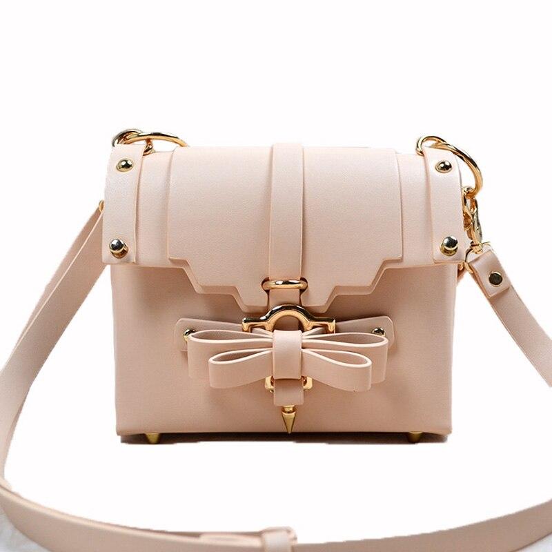 2017 Fashion Cute Bow Messenger Bags Women Sweet Pink Handbag Famous Brand Designer Girl Leather Shoulder Bag Bolsa white XA432H