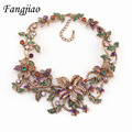 Alloy Collars Elegant Chunky Statement Crystal Pendant Vivid Flower Necklace New Brand Femme Women Jewelry