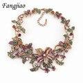 Collares de la aleación elegante declaración chunky crystal colgante vivid collar de la flor nueva marca femme mujeres joyas