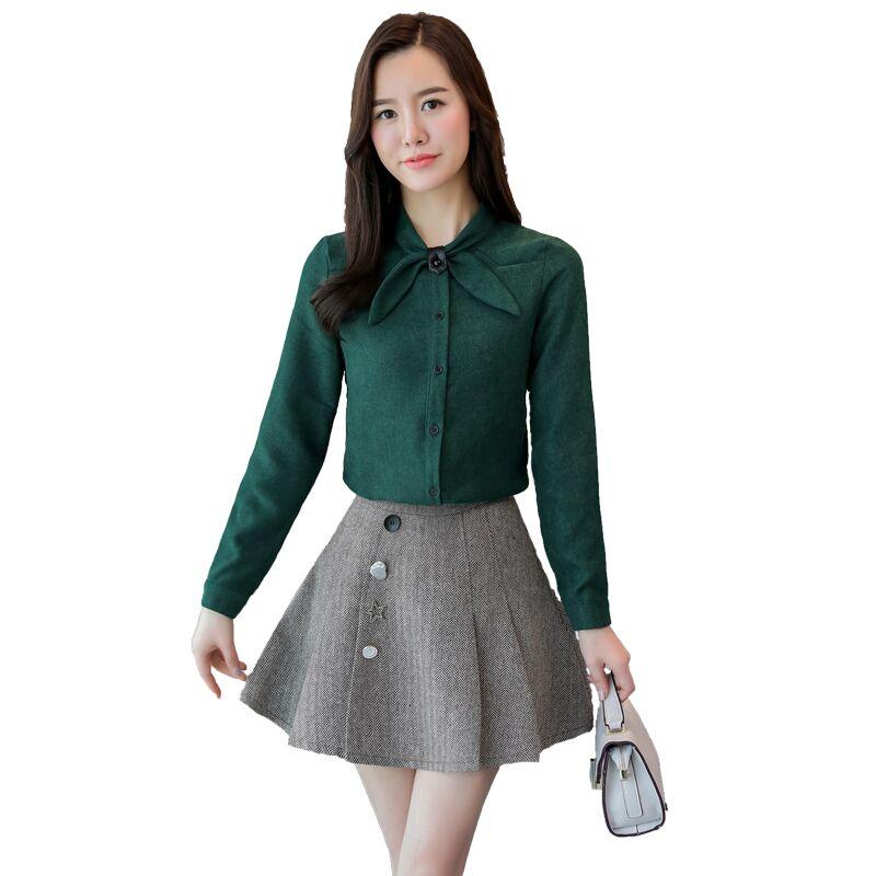 New Women   Shirts   Bow Full Sleeve Corduroy Small Clear Render   Blouse     Shirt   Khaki Green Wine Red Dark Blue 9982