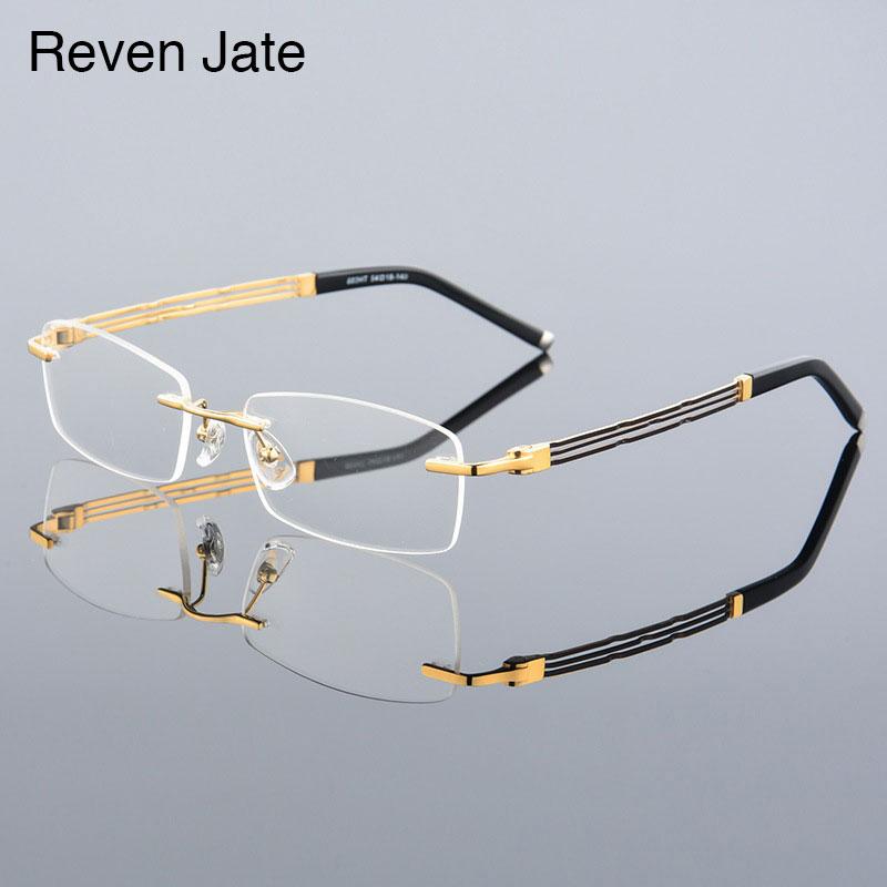 77ad23067e2 Reven Jate 603 Rimless Men Eyeglasses Frame Optical Prescription Glasses for  Man Eyewear Fashion Rimless Spectacles