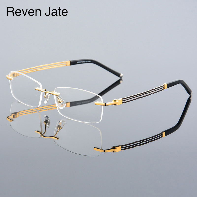 0f4196fa16 Reven Jate 603 Rimless Men Eyeglasses Frame Optical Prescription Glasses for  Man Eyewear Fashion Rimless Spectacles