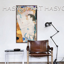 Canvas Painting Beautiful woman portrait Quardro Oil paintings by Gustav Klimt Kiss Love reproduction High quality Hand painted