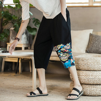 2018 sew summer Color Cotton Easy Split Joint Seven Part Fancy Pants personality city boy trend exquisite joggers Fashion