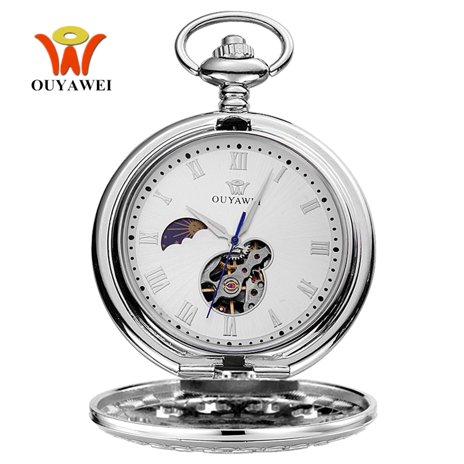 2017 OYW Hand Winding Mechanical Silver Men Pocket Watch Skeleton Dial Steel Necklace Chain Pendant Vintage Dress Fob Watches