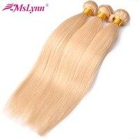 Mslynn 613 honey Blonde Hair Bundle Deals Brazilian Straight Hair Weave Bundles 100% Human Hair Extensions Non Remy Hair 10 24
