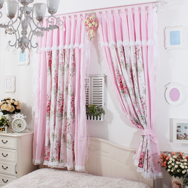 Romantic Pink Sheer Curtains For Living Room Rustic Vintage Floral Blackout Curtain Korean Girl