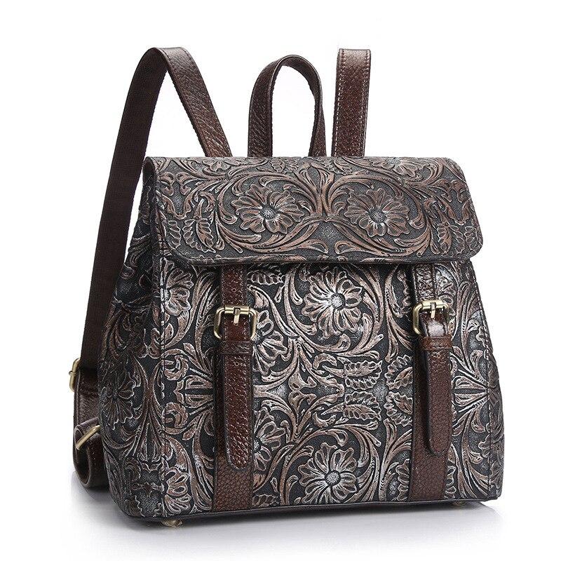Sac à dos en cuir de vache fendu de haute qualité pour femmes mode Vintage sacs à dos de collège femme voyage sacs à dos pour ordinateur portable offre spéciale
