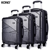 KONO Rolling Hand Hold Luggage Travel Suitcase Hard Shell PC 4 Wheels Spinner Carry On Trolley Case Bag 20 24 28 Set YD1772L
