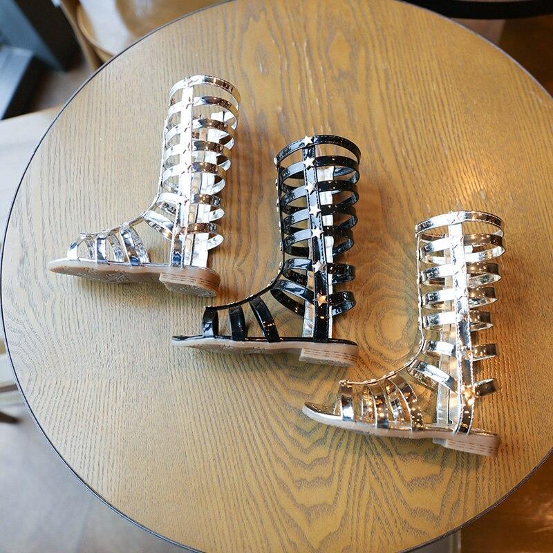 2018 Summer 3 Colors Baby Girl Cut-Outs Hollow Roman Sandals Children Knee  Boots Gladiator Kid Flat Glitter Star Zipper PU Shoes f14fd81653be