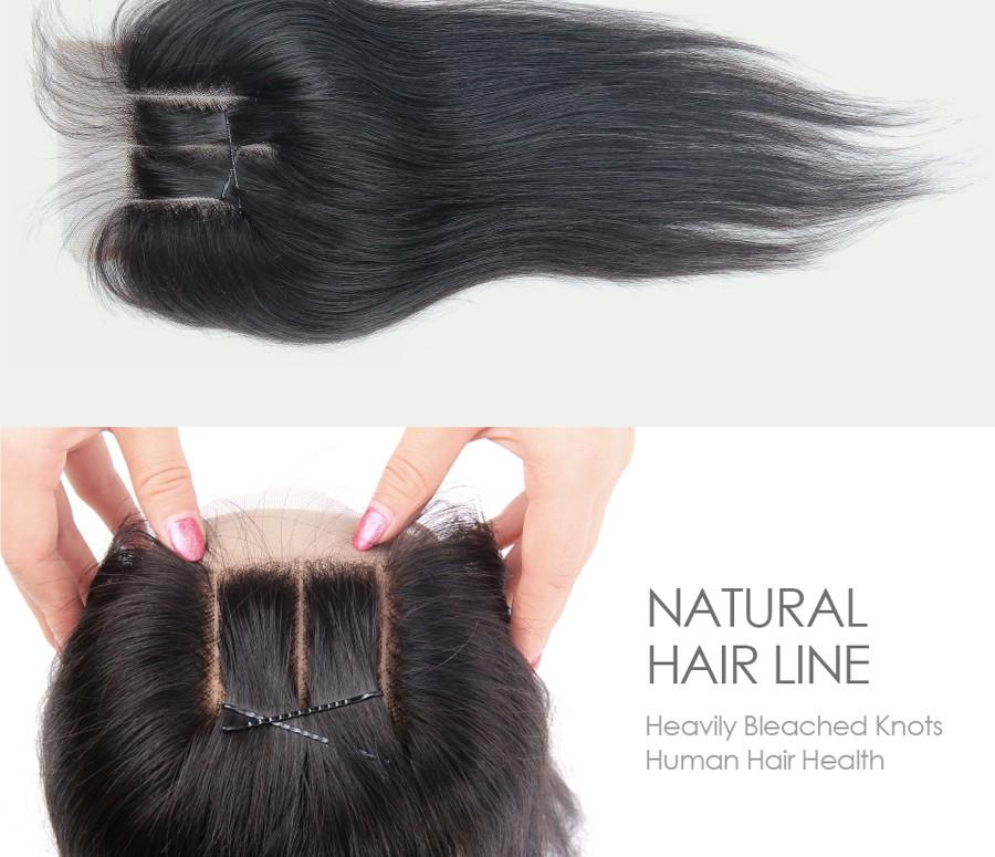 human hair closure 3 way part