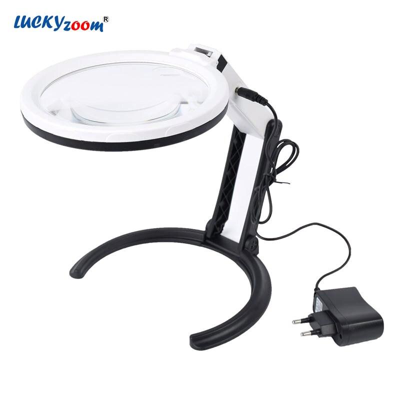 Luckyzoom Plug-dans le Bureau Loupe Avec 12 LED Lumières 1.8X 5X Pliable Charge De Poche Illuminé Loupe Lecture Lupa