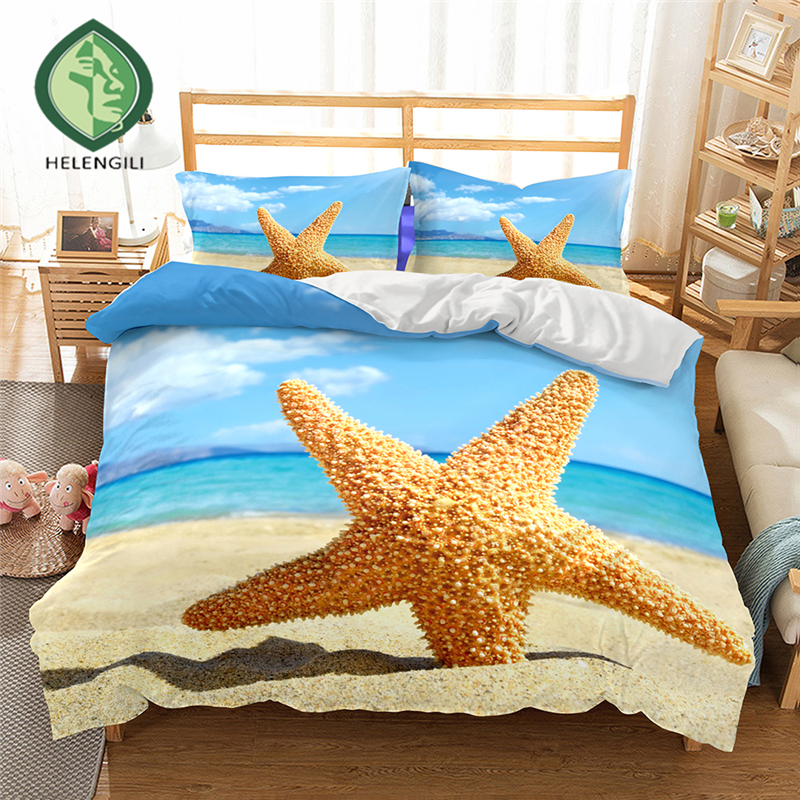 HELENGILI 3D Bedding set Starfish Print Duvet cover set lifelike bedclothes with pillowcase bed set home Textiles #2-04HELENGILI 3D Bedding set Starfish Print Duvet cover set lifelike bedclothes with pillowcase bed set home Textiles #2-04