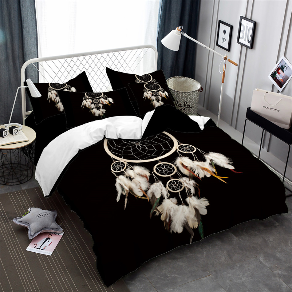 Dream Catcher Bedding Set Boho Feather Print Duvet Cover Set Black Bedclothes King Queen Quilt Cover Pillowcase 3Pcs in Bedding Sets from Home Garden