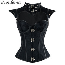 Corset Sexy Lingerie Tops Bustier Punk Goth Royal-Blue Pink Lace-Up Vintage Women Beonlema