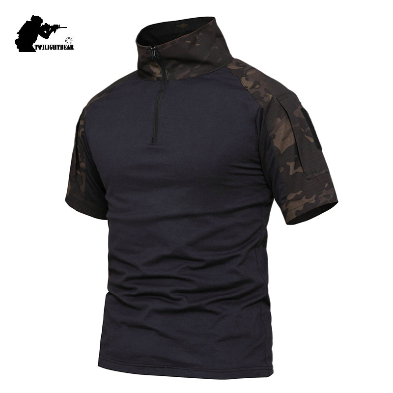 Military Camouflage Frog Suit Short Sleeve Brand Cotton Fat Slim Casual Tactical T Shirt Men Women Training Shirts S-4XL AFPLY53