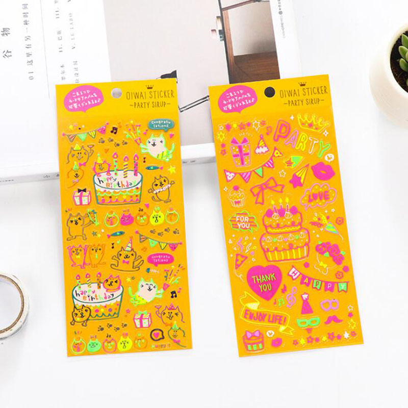 2pc / Pack, Childrens Cartoon Creative Stamping Birthday Cake Pattern Diy Diary Decorative Stickers Pvc Notebook Scrapbooking2pc / Pack, Childrens Cartoon Creative Stamping Birthday Cake Pattern Diy Diary Decorative Stickers Pvc Notebook Scrapbooking