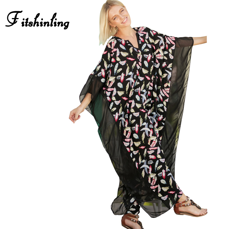 Fitshinling Mesh splice big size beach long dress female 2018 summer print floral batwing sleeve maxi dresses sexy hot pareos