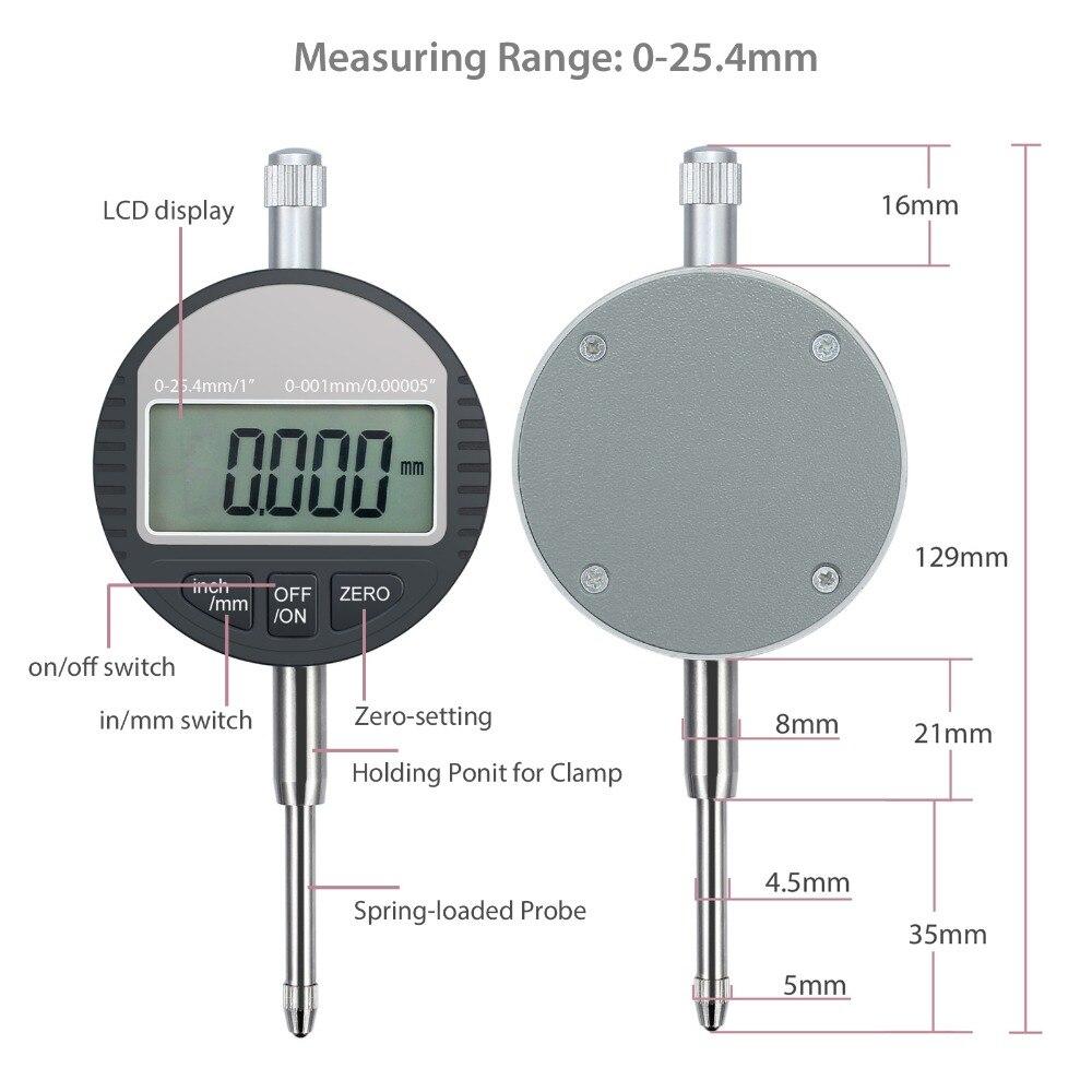 Digital Probe Indicator Gauge 0-12.7mm//0.5 Clock Dti 0.01mm//0.0005 Test Digital Dial Indicator