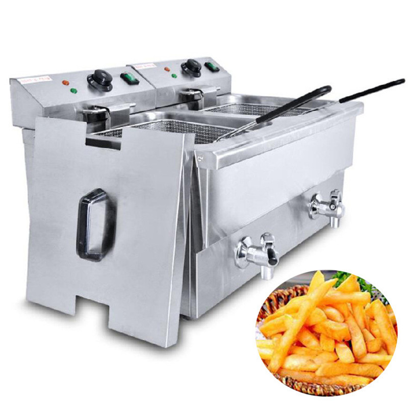 Jamielin Commercial Deep Fryer Stainless Steel French Fries Machine Fried Chicken Donut Fish Chicken Churros Deep Fryer
