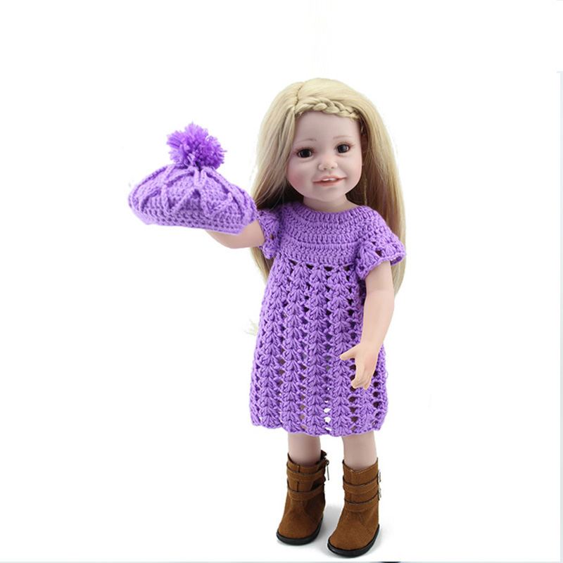 American girls doll full vinyl girl Princess doll purple hat and dress reborn Lifelike toy18 Inch/45 cm Perfect birthday gift 18 inch newest vinyl dolls girl doll with dress and hat lovely princess doll toys for children christmas gift