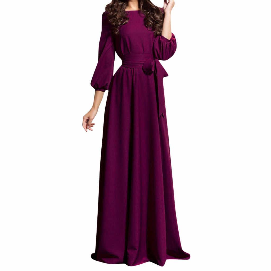 Boho solto sólido vestido de senhoras lanterna manga o-pescoço vestido de festa à noite vestido de praia sexy feminino elegante formal longo vestido