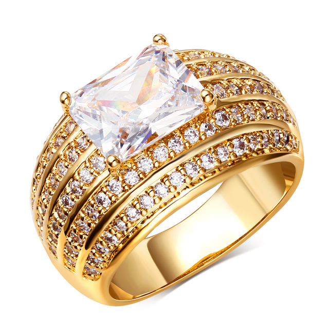 New Fashion Big White Stone Wedding Ring Gold color Setting 108pcs CZ Crystal Ring Jewelry for Women Anniversary gift
